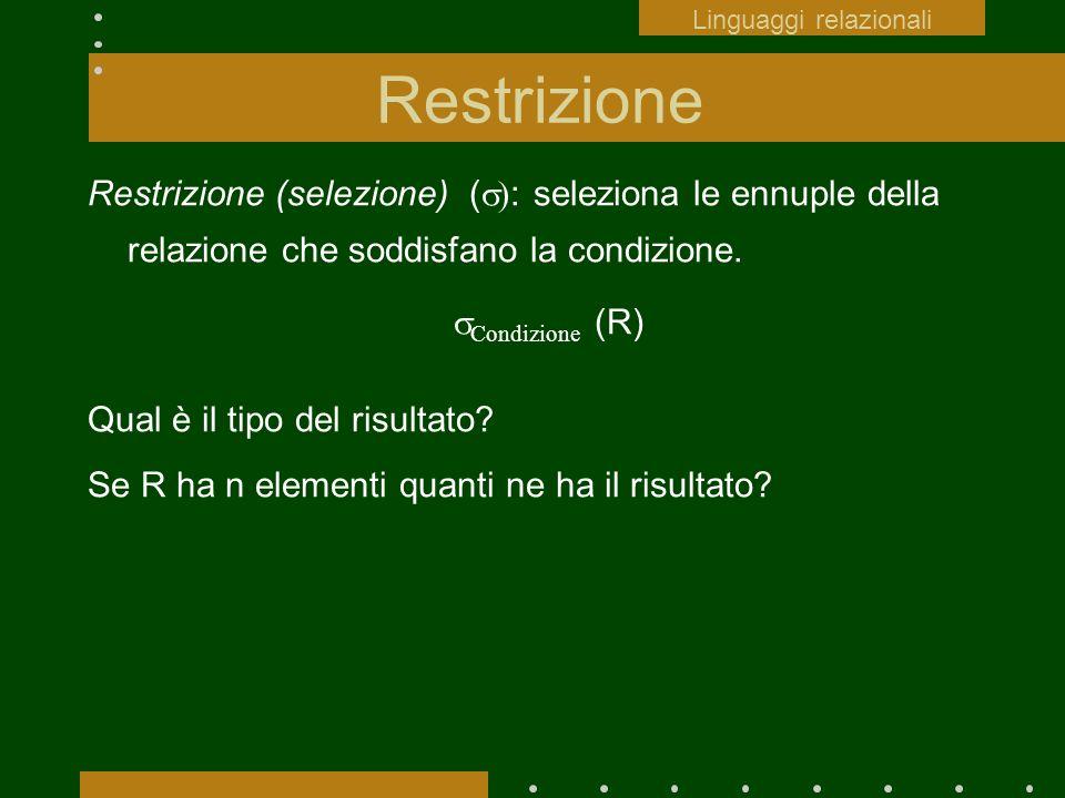 Restrizione Restrizione (selezione) ( : seleziona le ennuple della relazione che soddisfano la condizione. Condizione (R) Qual è il tipo del risultato