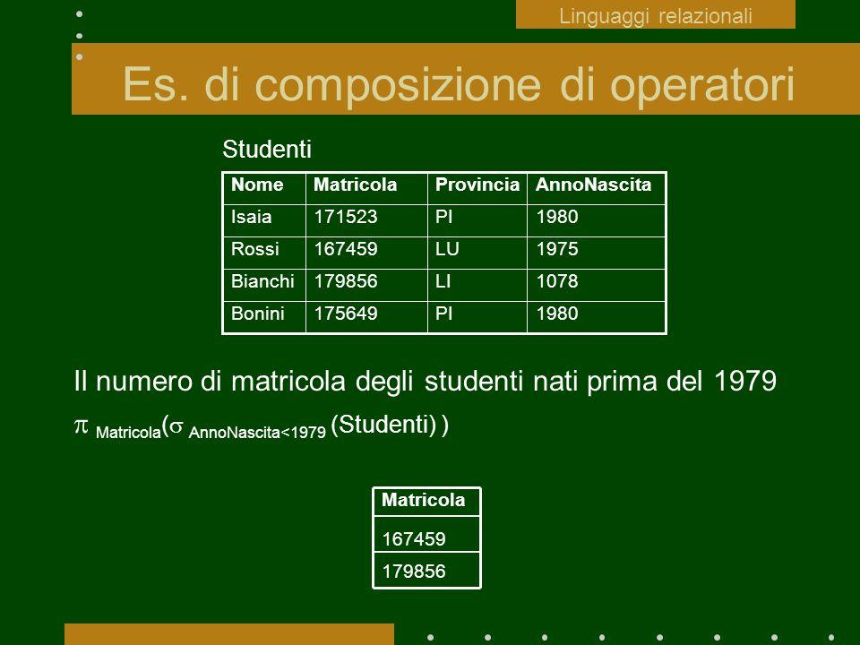 Es. di composizione di operatori Il numero di matricola degli studenti nati prima del 1979 Matricola ( AnnoNascita<1979 (Studenti) ) Linguaggi relazio