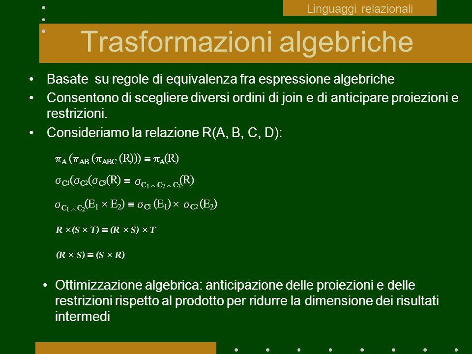 Trasformazioni algebriche Basate su regole di equivalenza fra espressione algebriche Consentono di scegliere diversi ordini di join e di anticipare pr