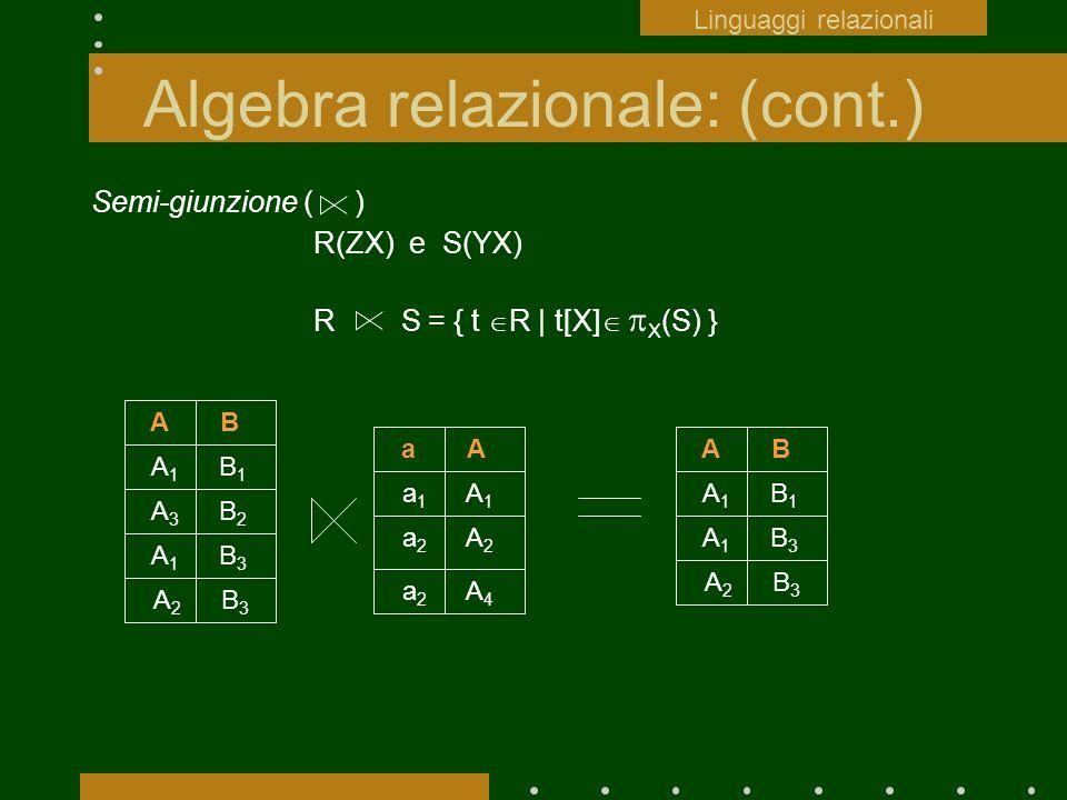 Algebra relazionale: (cont.) Semi-giunzione ( ) R(ZX) e S(YX) R S = { t R | t[X] X (S) } a A a 1 A 1 a 2 A 2 A B A 1 B 1 A 3 B 2 A 1 B 3 A 2 B 3 a 2 A