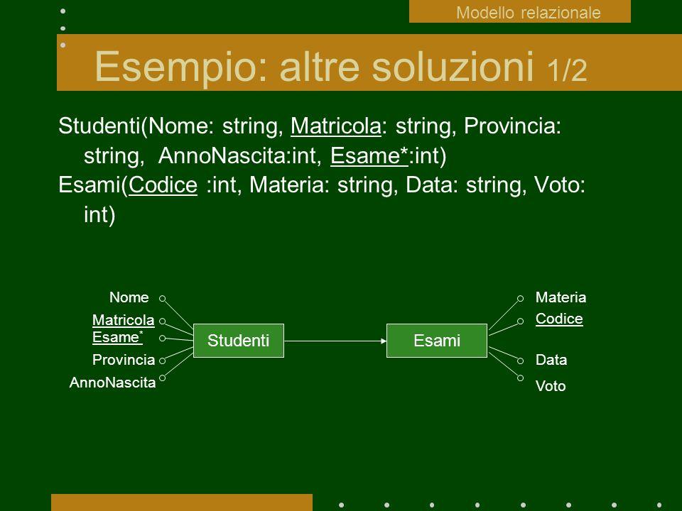 Esempio: altre soluzioni 1/2 Studenti(Nome: string, Matricola: string, Provincia: string, AnnoNascita:int, Esame*:int) Esami(Codice :int, Materia: str