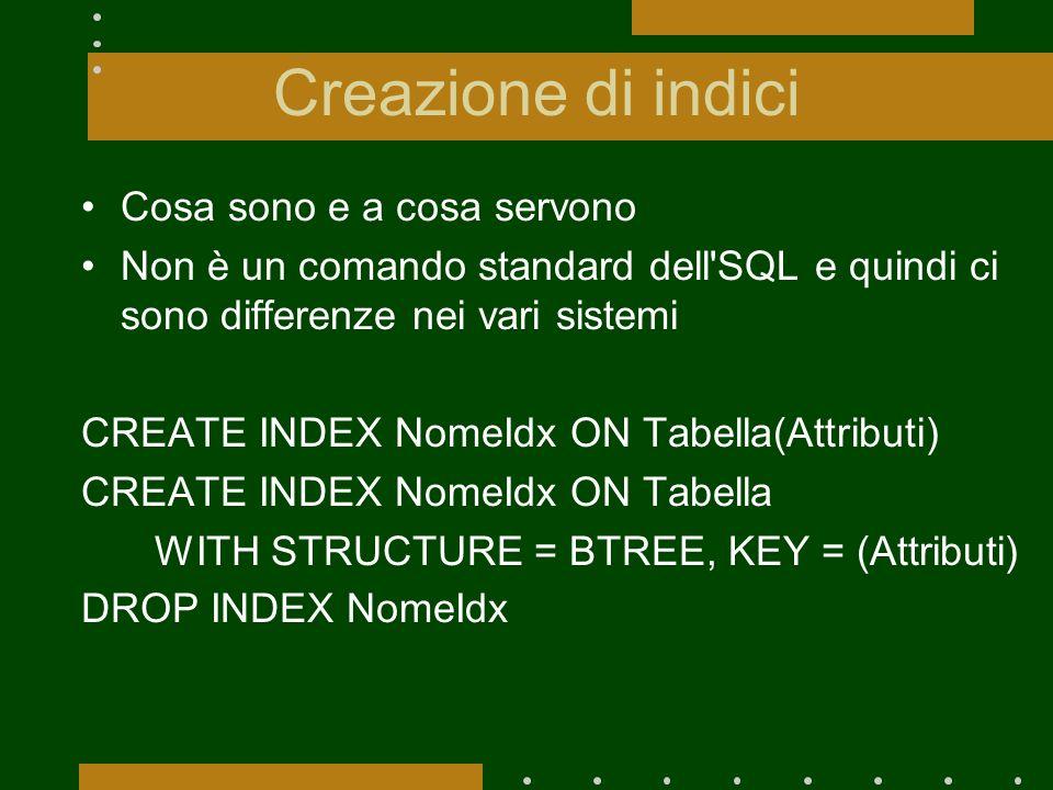 Creazione di indici Cosa sono e a cosa servono Non è un comando standard dell SQL e quindi ci sono differenze nei vari sistemi CREATE INDEX NomeIdx ON Tabella(Attributi) CREATE INDEX NomeIdx ON Tabella WITH STRUCTURE = BTREE, KEY = (Attributi) DROP INDEX NomeIdx