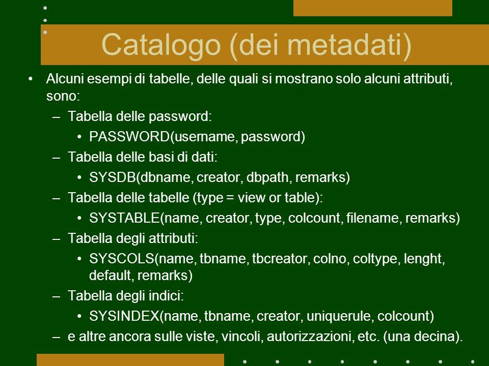 Catalogo (dei metadati) Alcuni esempi di tabelle, delle quali si mostrano solo alcuni attributi, sono: –Tabella delle password: PASSWORD(username, password) –Tabella delle basi di dati: SYSDB(dbname, creator, dbpath, remarks) –Tabella delle tabelle (type = view or table): SYSTABLE(name, creator, type, colcount, filename, remarks) –Tabella degli attributi: SYSCOLS(name, tbname, tbcreator, colno, coltype, lenght, default, remarks) –Tabella degli indici: SYSINDEX(name, tbname, creator, uniquerule, colcount) –e altre ancora sulle viste, vincoli, autorizzazioni, etc.