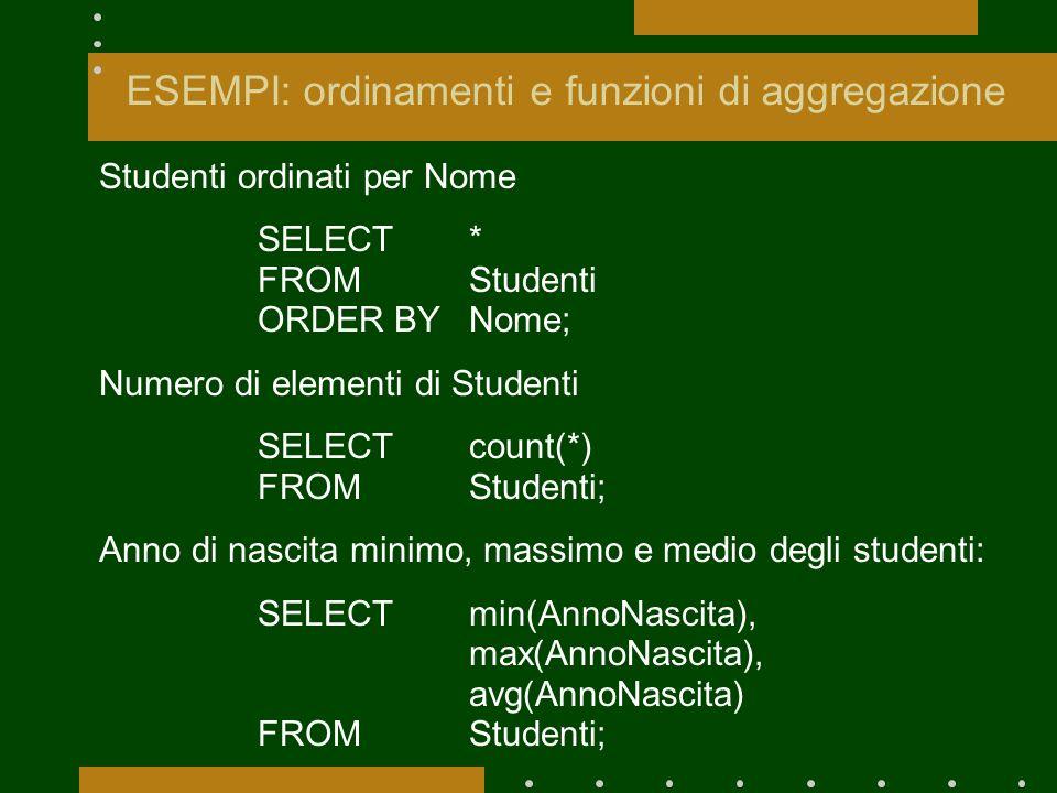 ESEMPI: ordinamenti e funzioni di aggregazione Studenti ordinati per Nome SELECT* FROMStudenti ORDER BY Nome; Numero di elementi di Studenti SELECTcou
