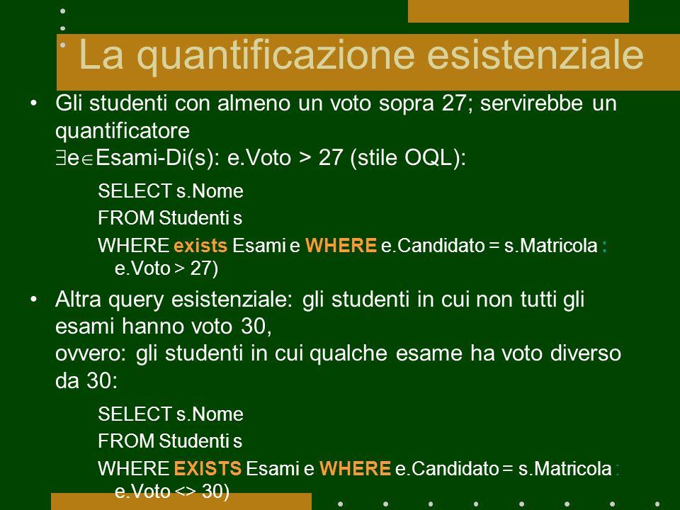 La quantificazione esistenziale Gli studenti con almeno un voto sopra 27; servirebbe un quantificatore e Esami-Di(s): e.Voto > 27 (stile OQL): SELECT