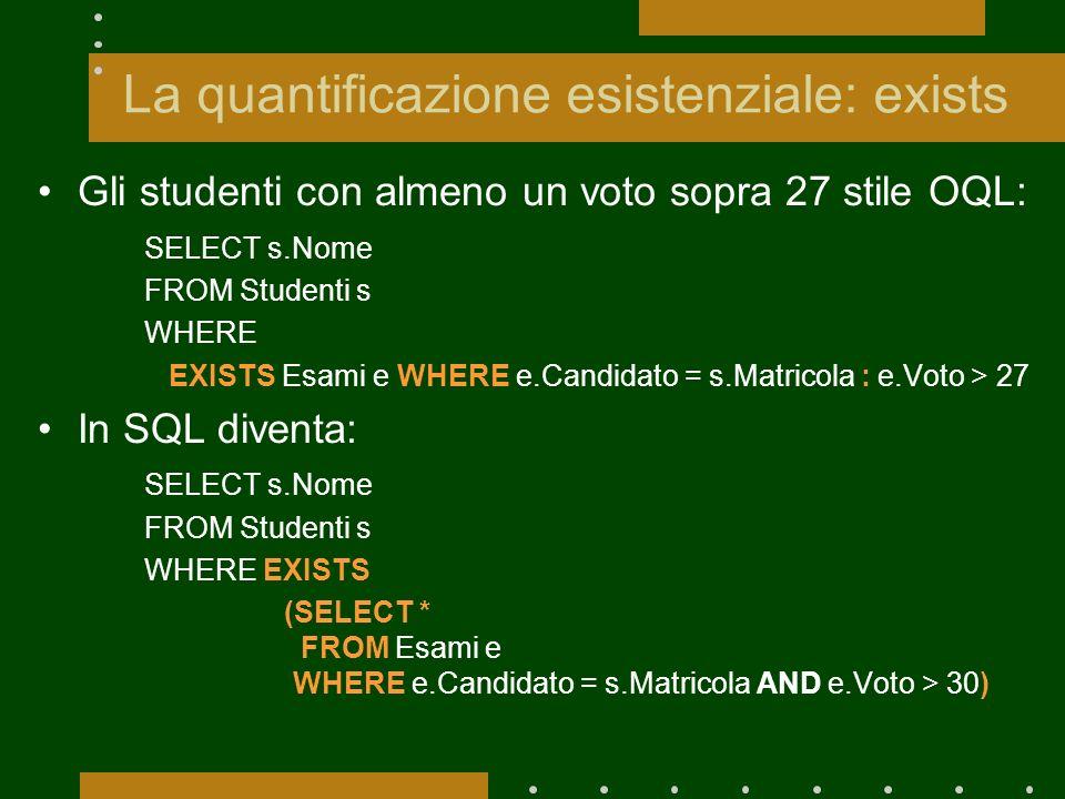 La quantificazione esistenziale: exists Gli studenti con almeno un voto sopra 27 stile OQL: SELECT s.Nome FROM Studenti s WHERE EXISTS Esami e WHERE e