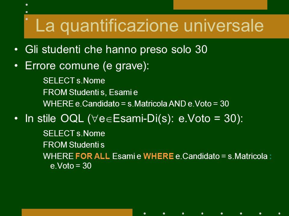 La quantificazione universale Gli studenti che hanno preso solo 30 Errore comune (e grave): SELECT s.Nome FROM Studenti s, Esami e WHERE e.Candidato =