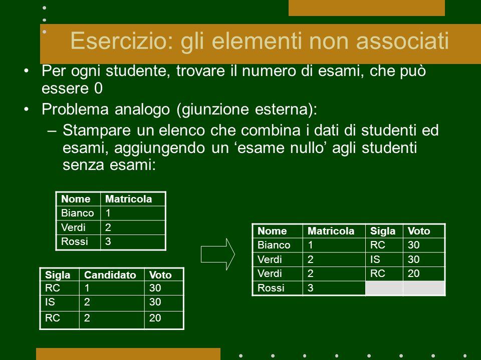 Esercizio: gli elementi non associati Per ogni studente, trovare il numero di esami, che può essere 0 Problema analogo (giunzione esterna): –Stampare