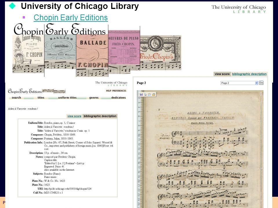 Pasquale Savino – ISTI-CNR Biblioteche Digitali15 University of Chicago Library Chopin Early Editions