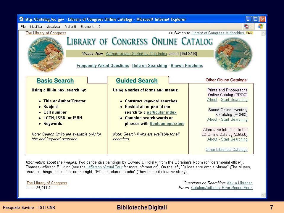 Pasquale Savino – ISTI-CNR Biblioteche Digitali7