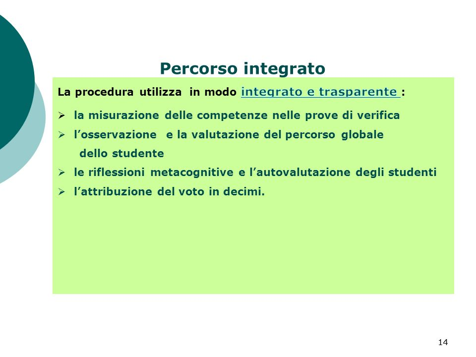 14 Percorso integrato