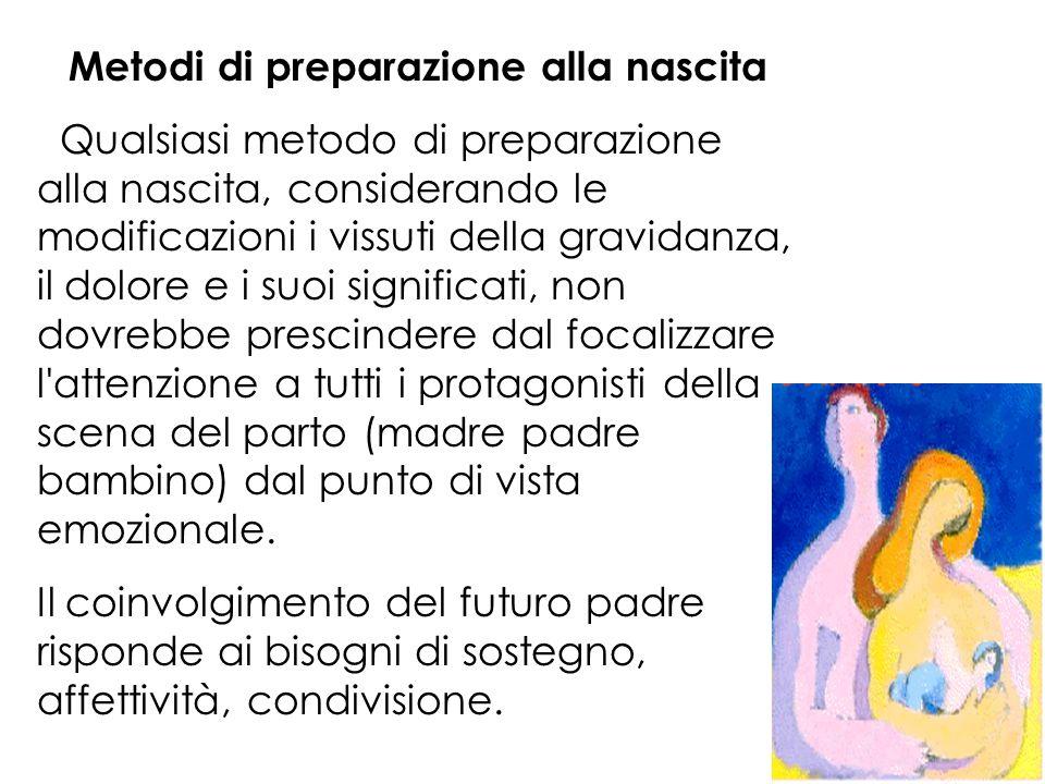 Metodi di preparazione alla nascita Qualsiasi metodo di preparazione alla nascita, considerando le modificazioni i vissuti della gravidanza, il dolore