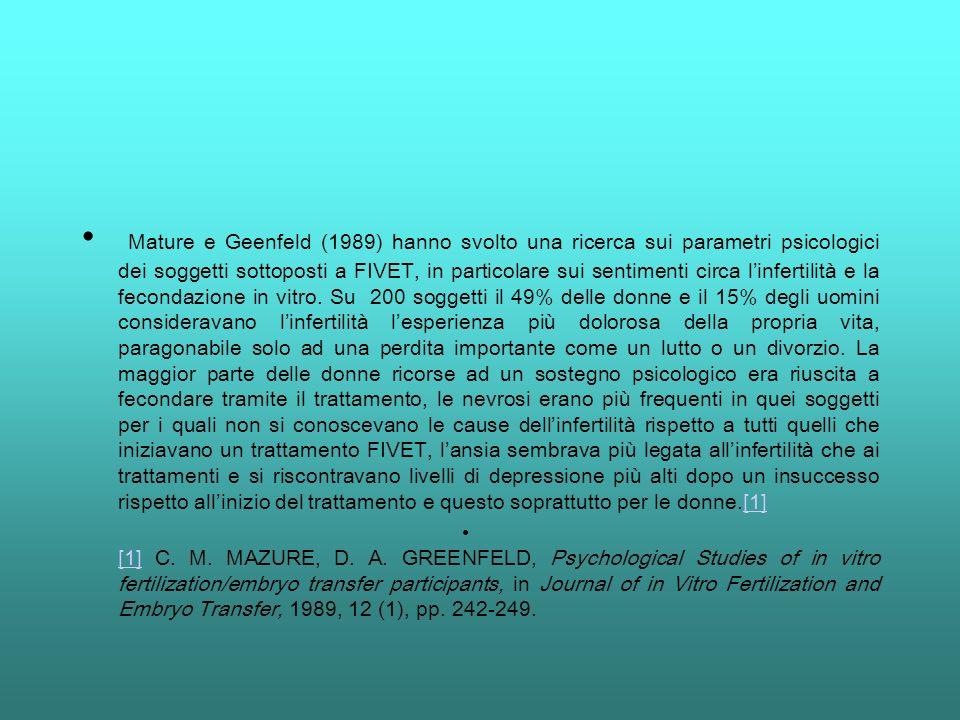 Mature e Geenfeld (1989) hanno svolto una ricerca sui parametri psicologici dei soggetti sottoposti a FIVET, in particolare sui sentimenti circa linfe