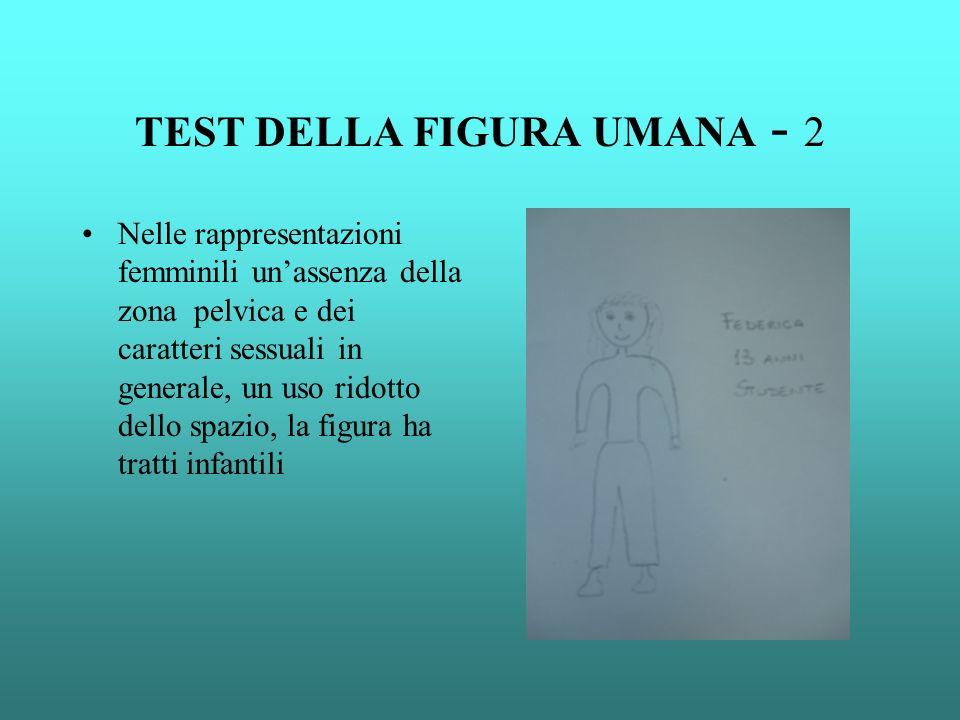 TEST DELLA FIGURA UMANA - 2 Nelle rappresentazioni femminili unassenza della zona pelvica e dei caratteri sessuali in generale, un uso ridotto dello s