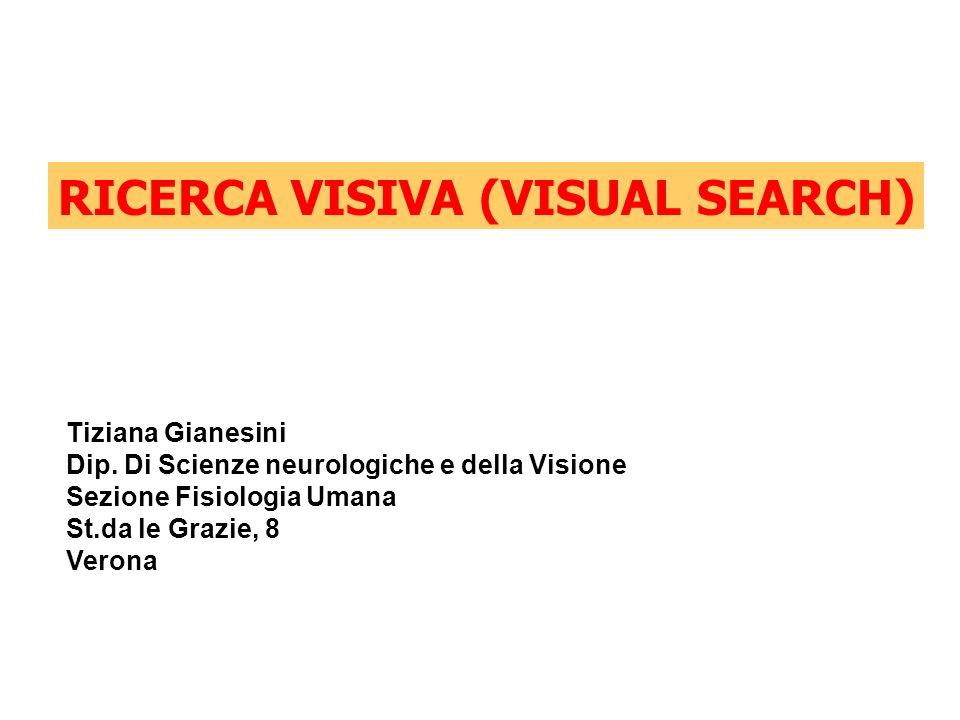RICERCA VISIVA (VISUAL SEARCH) Tiziana Gianesini Dip. Di Scienze neurologiche e della Visione Sezione Fisiologia Umana St.da le Grazie, 8 Verona