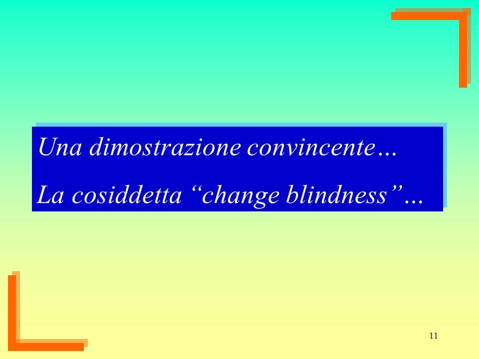 11 Una dimostrazione convincente… La cosiddetta change blindness… Una dimostrazione convincente… La cosiddetta change blindness…