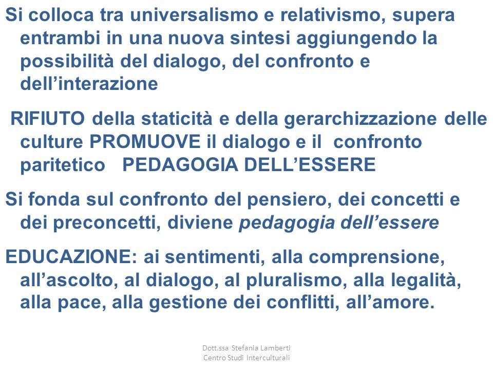 Si colloca tra universalismo e relativismo, supera entrambi in una nuova sintesi aggiungendo la possibilità del dialogo, del confronto e dellinterazio