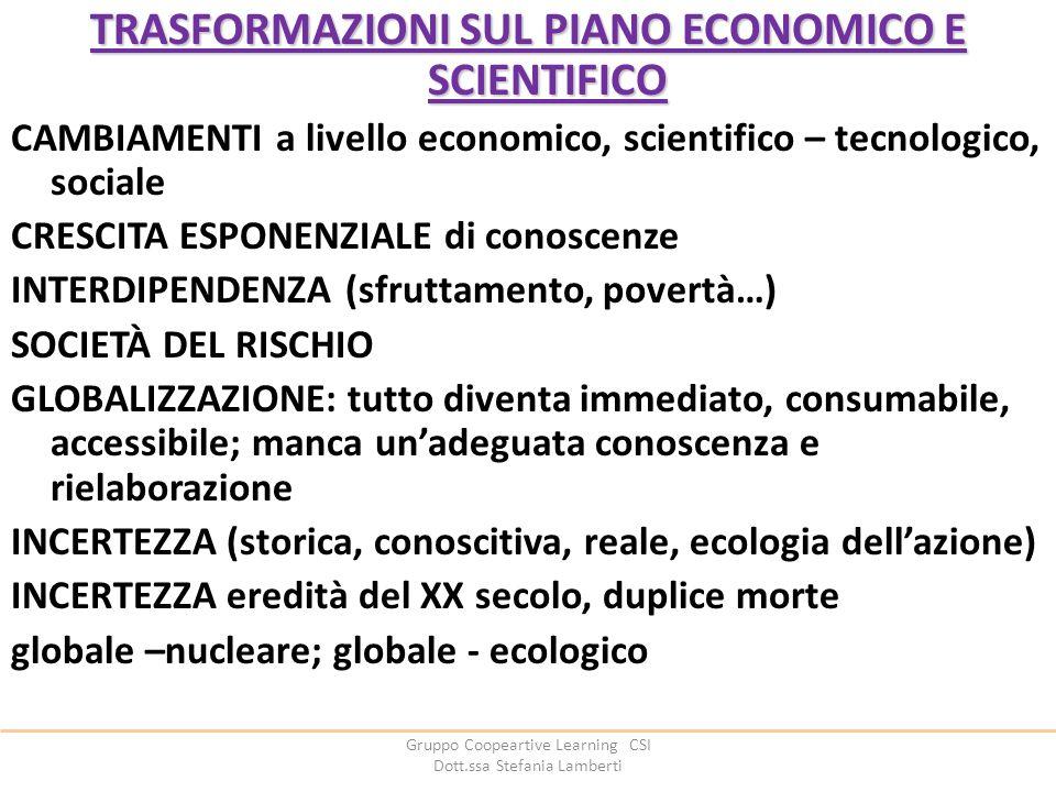 Gruppo Coopeartive Learning CSI Dott.ssa Stefania Lamberti TRASFORMAZIONI SUL PIANO ECONOMICO E SCIENTIFICO CAMBIAMENTI a livello economico, scientifi