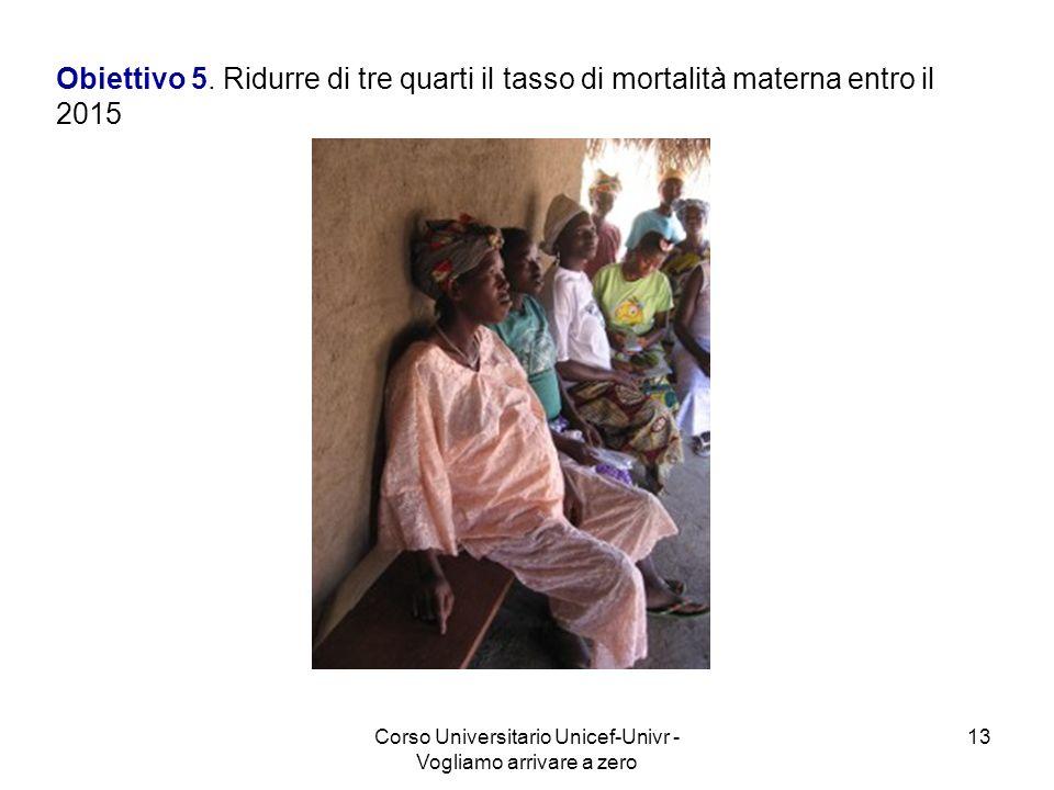 Corso Universitario Unicef-Univr - Vogliamo arrivare a zero 13 Obiettivo 5. Ridurre di tre quarti il tasso di mortalità materna entro il 2015