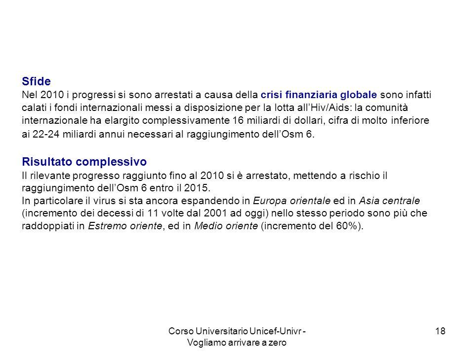 Corso Universitario Unicef-Univr - Vogliamo arrivare a zero 18 Sfide Nel 2010 i progressi si sono arrestati a causa della crisi finanziaria globale so