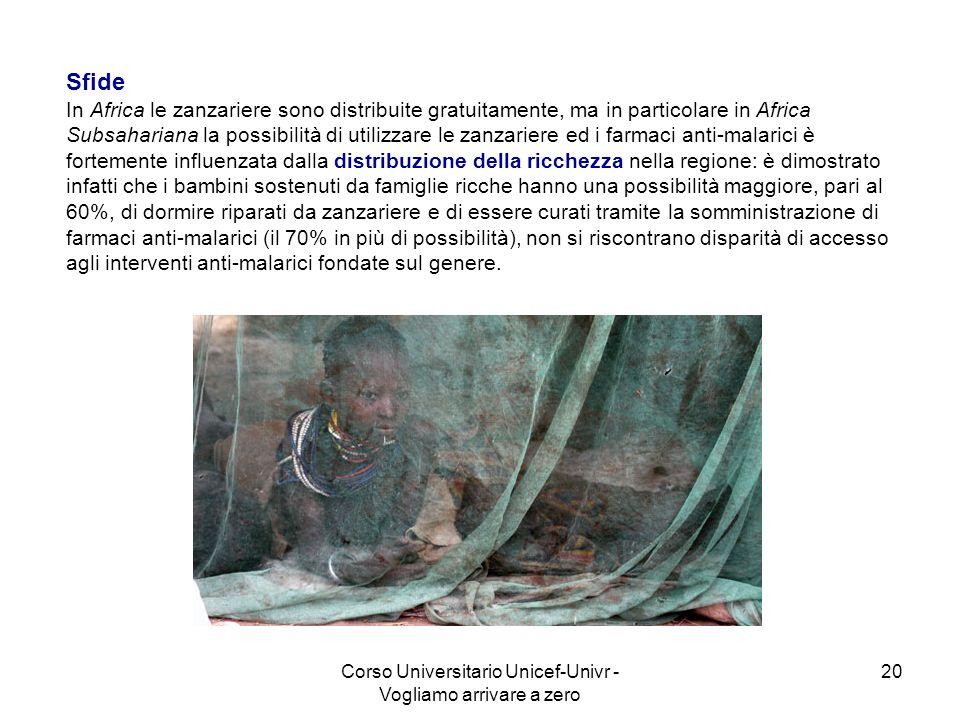 Corso Universitario Unicef-Univr - Vogliamo arrivare a zero 20 Sfide In Africa le zanzariere sono distribuite gratuitamente, ma in particolare in Afri