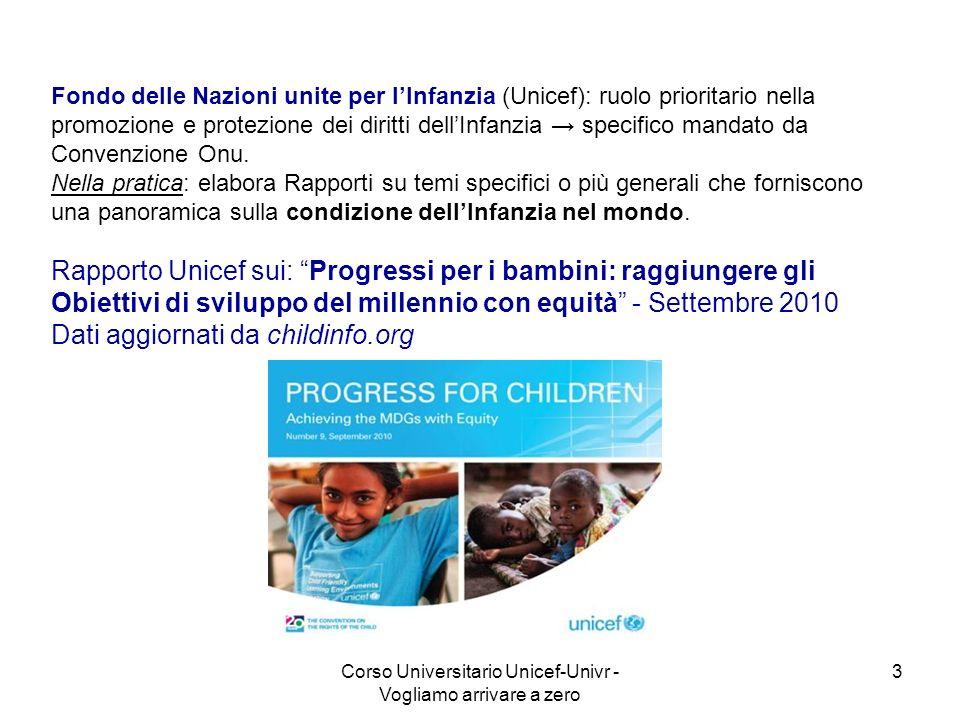 Corso Universitario Unicef-Univr - Vogliamo arrivare a zero 3 Fondo delle Nazioni unite per lInfanzia (Unicef): ruolo prioritario nella promozione e p