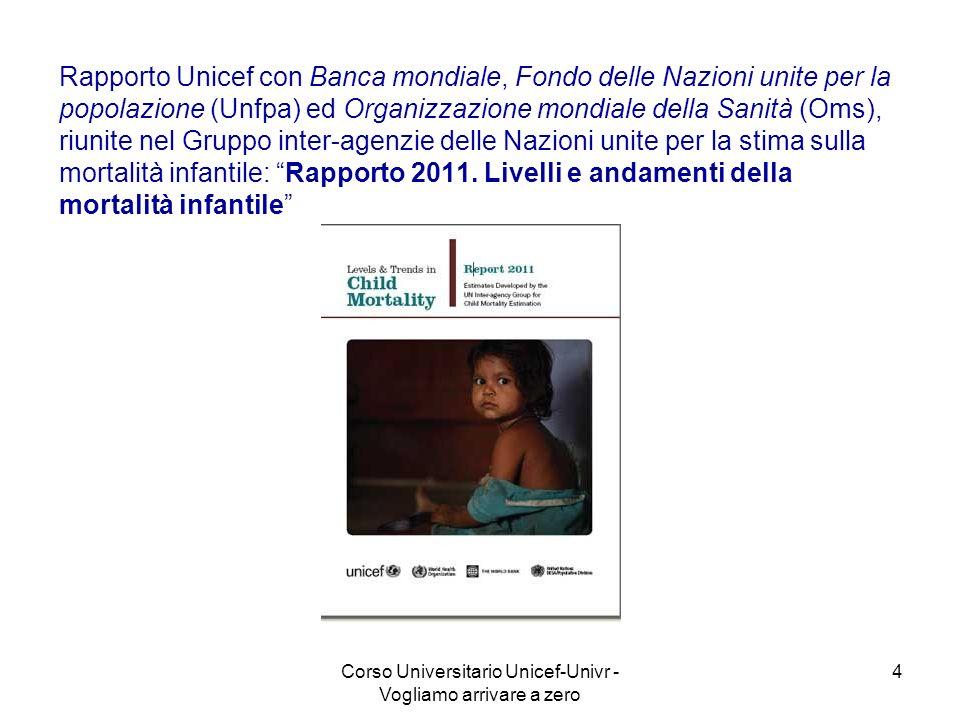 Corso Universitario Unicef-Univr - Vogliamo arrivare a zero 4 Rapporto Unicef con Banca mondiale, Fondo delle Nazioni unite per la popolazione (Unfpa)