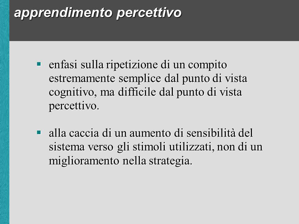 apprendimento percettivo enfasi sulla ripetizione di un compito estremamente semplice dal punto di vista cognitivo, ma difficile dal punto di vista percettivo.