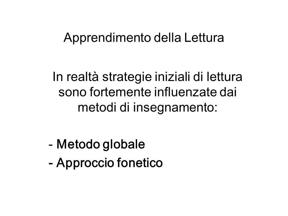 Apprendimento della Lettura In realtà strategie iniziali di lettura sono fortemente influenzate dai metodi di insegnamento: - Metodo globale - Approcc
