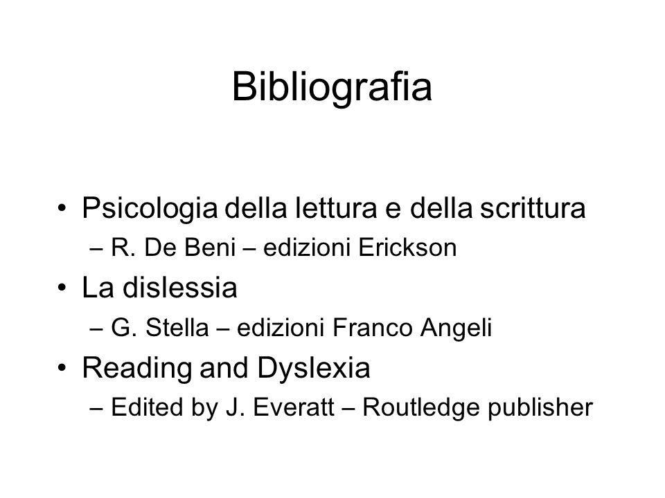 Bibliografia Psicologia della lettura e della scrittura –R. De Beni – edizioni Erickson La dislessia –G. Stella – edizioni Franco Angeli Reading and D