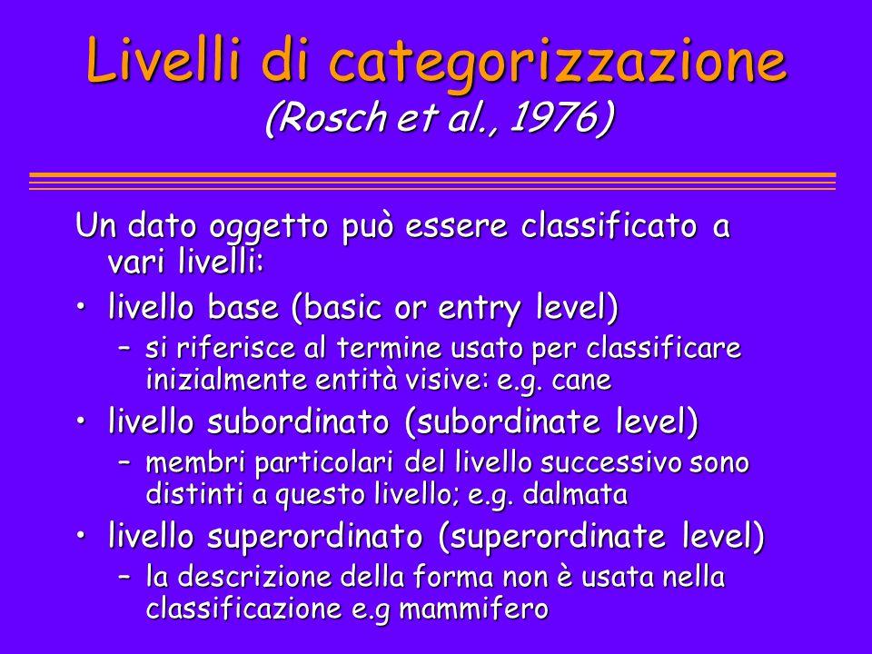 Livelli di categorizzazione (Rosch et al., 1976) Un dato oggetto può essere classificato a vari livelli: livello base (basic or entry level)livello ba