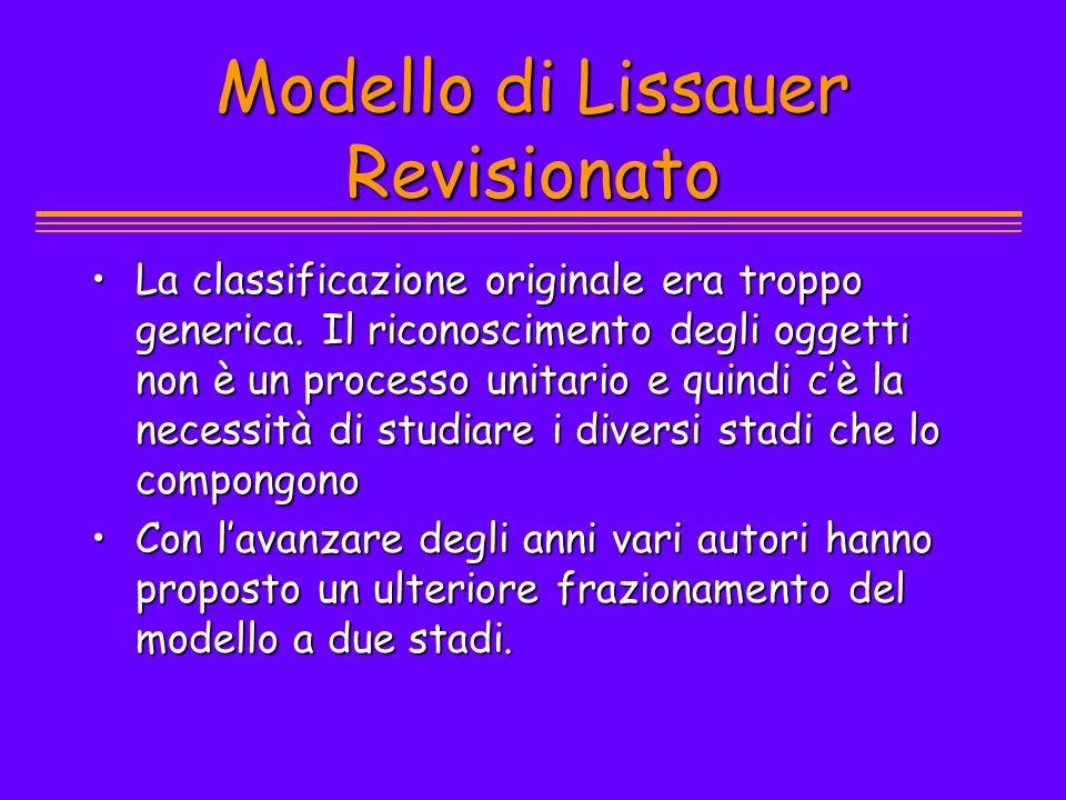 Modello di Lissauer Revisionato La classificazione originale era troppo generica. Il riconoscimento degli oggetti non è un processo unitario e quindi