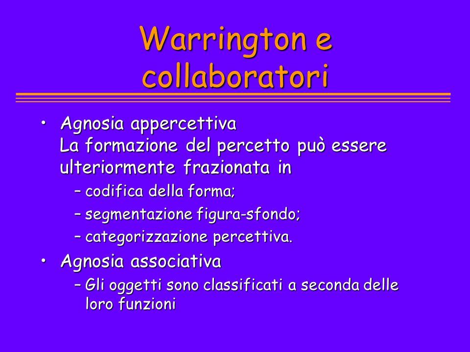 Warrington e collaboratori Agnosia appercettiva La formazione del percetto può essere ulteriormente frazionata inAgnosia appercettiva La formazione de