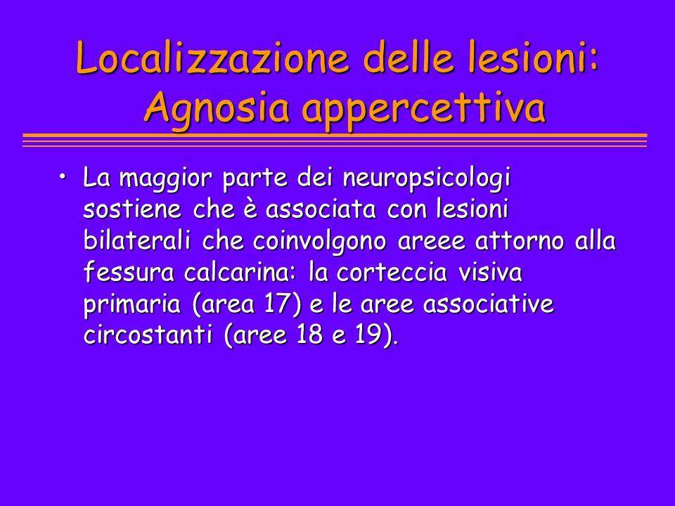 Localizzazione delle lesioni: Agnosia appercettiva La maggior parte dei neuropsicologi sostiene che è associata con lesioni bilaterali che coinvolgono