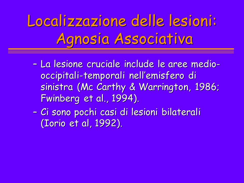 Localizzazione delle lesioni: Agnosia Associativa –La lesione cruciale include le aree medio- occipitali-temporali nellemisfero di sinistra (Mc Carthy