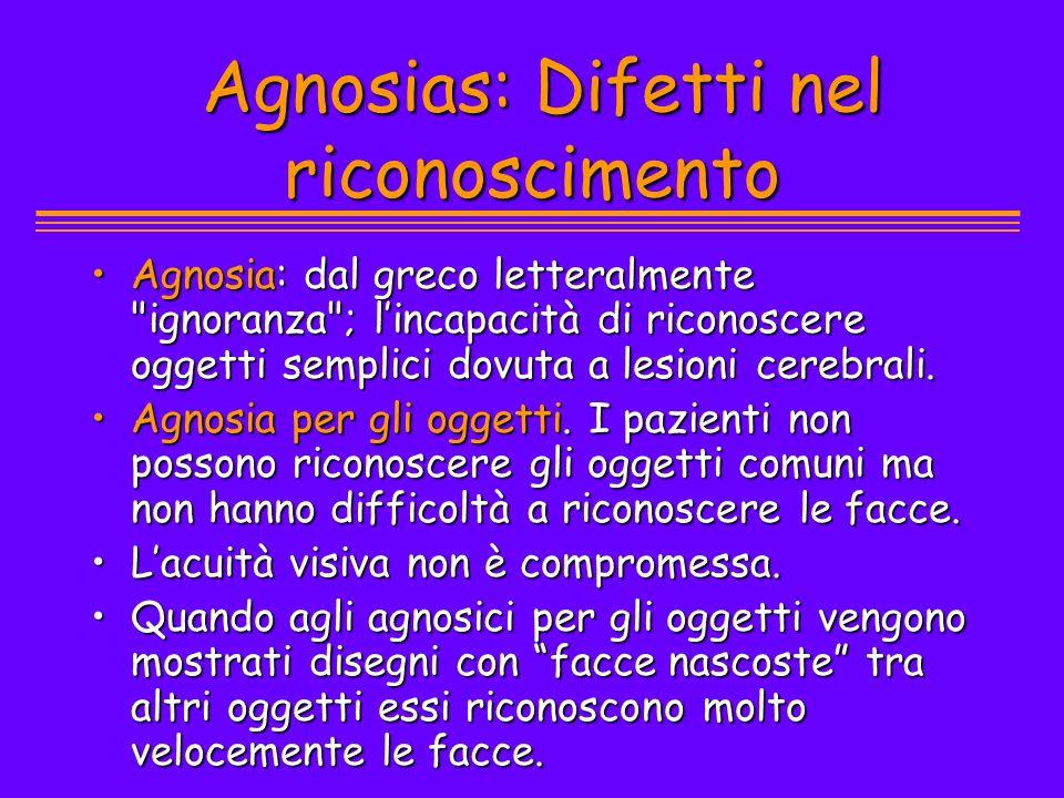Agnosias: Difetti nel riconoscimento Agnosias: Difetti nel riconoscimento Agnosia: dal greco letteralmente