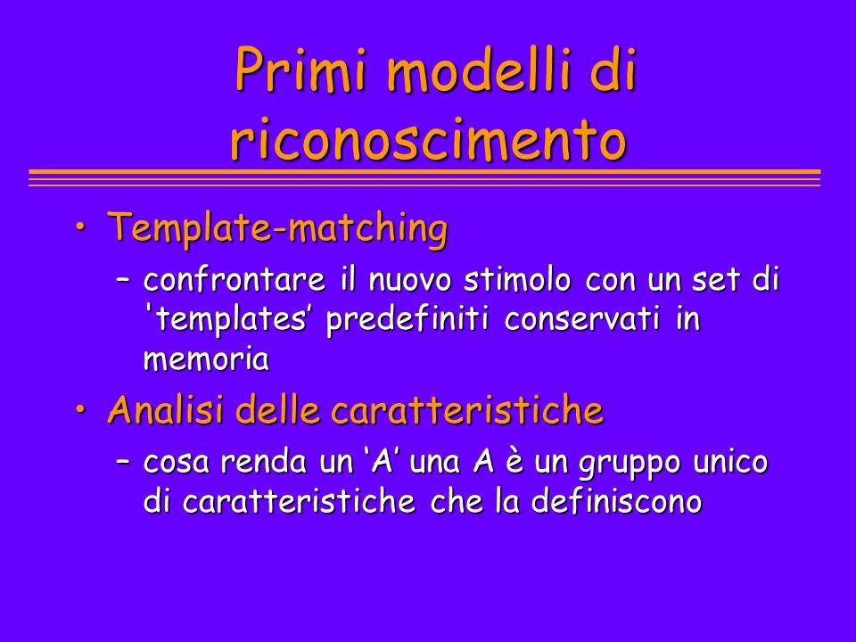 Primi modelli di riconoscimento Primi modelli di riconoscimento Template-matchingTemplate-matching –confrontare il nuovo stimolo con un set di 'templa