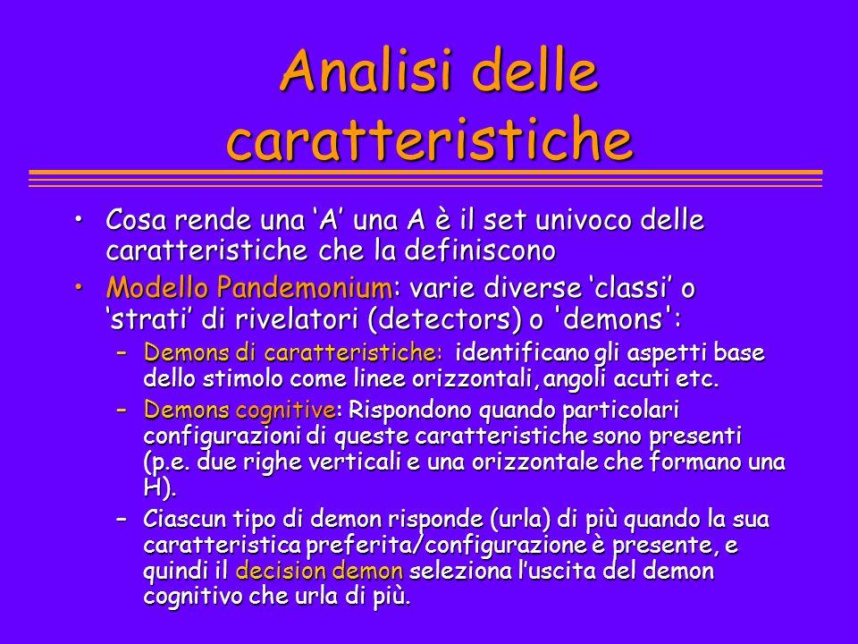 Analisi delle caratteristiche Analisi delle caratteristiche Cosa rende una A una A è il set univoco delle caratteristiche che la definisconoCosa rende