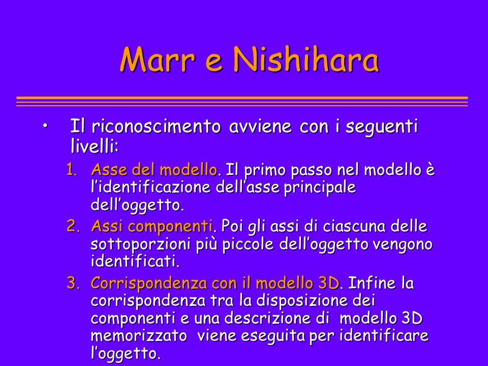 Marr e Nishihara Marr e Nishihara Il riconoscimento avviene con i seguenti livelli:Il riconoscimento avviene con i seguenti livelli: 1.Asse del modell
