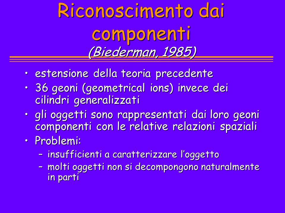 Riconoscimento dai componenti (Biederman, 1985) estensione della teoria precedenteestensione della teoria precedente 36 geoni (geometrical ions) invec