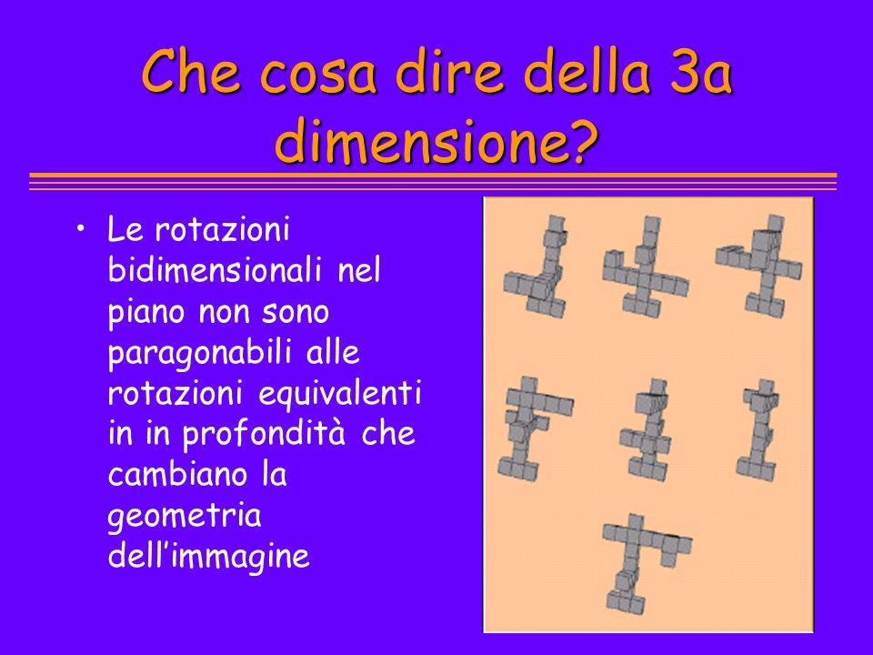 Che cosa dire della 3a dimensione? Le rotazioni bidimensionali nel piano non sono paragonabili alle rotazioni equivalenti in in profondità che cambian