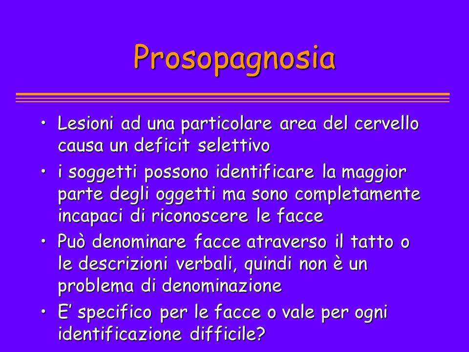 Prosopagnosia Lesioni ad una particolare area del cervello causa un deficit selettivoLesioni ad una particolare area del cervello causa un deficit sel