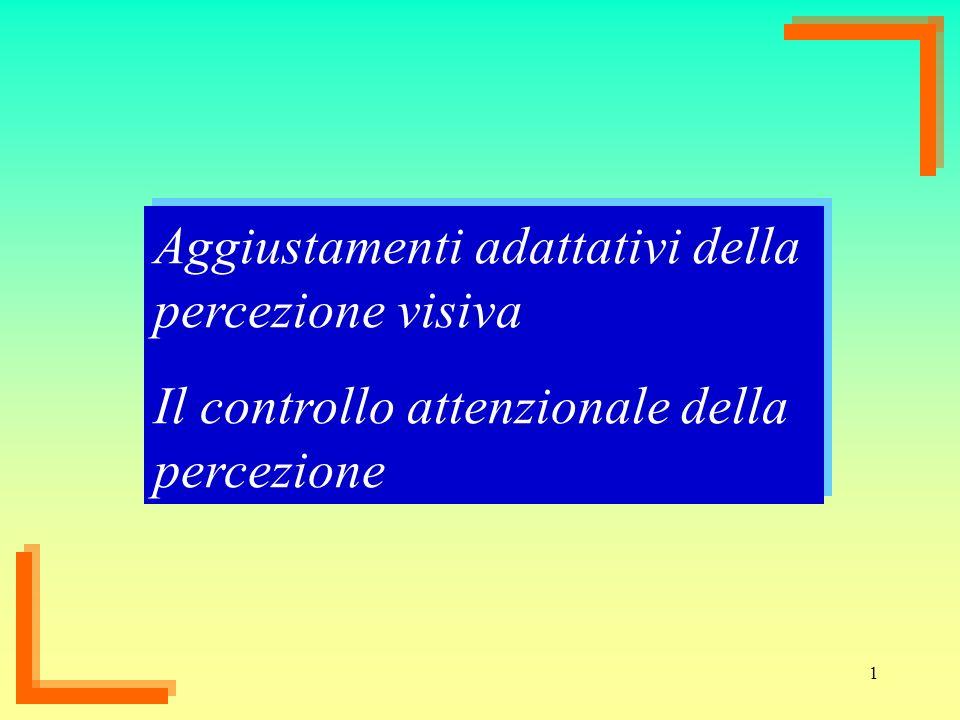 1 Aggiustamenti adattativi della percezione visiva Il controllo attenzionale della percezione Aggiustamenti adattativi della percezione visiva Il cont