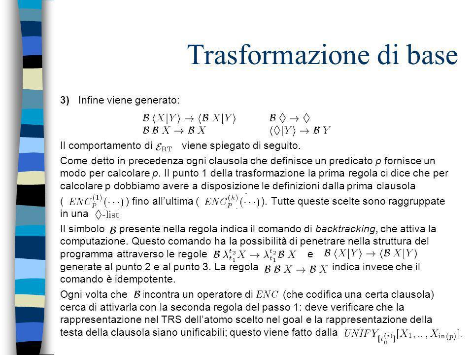 Trasformazione di base 3) Infine viene generato: Il comportamento di viene spiegato di seguito. Come detto in precedenza ogni clausola che definisce u