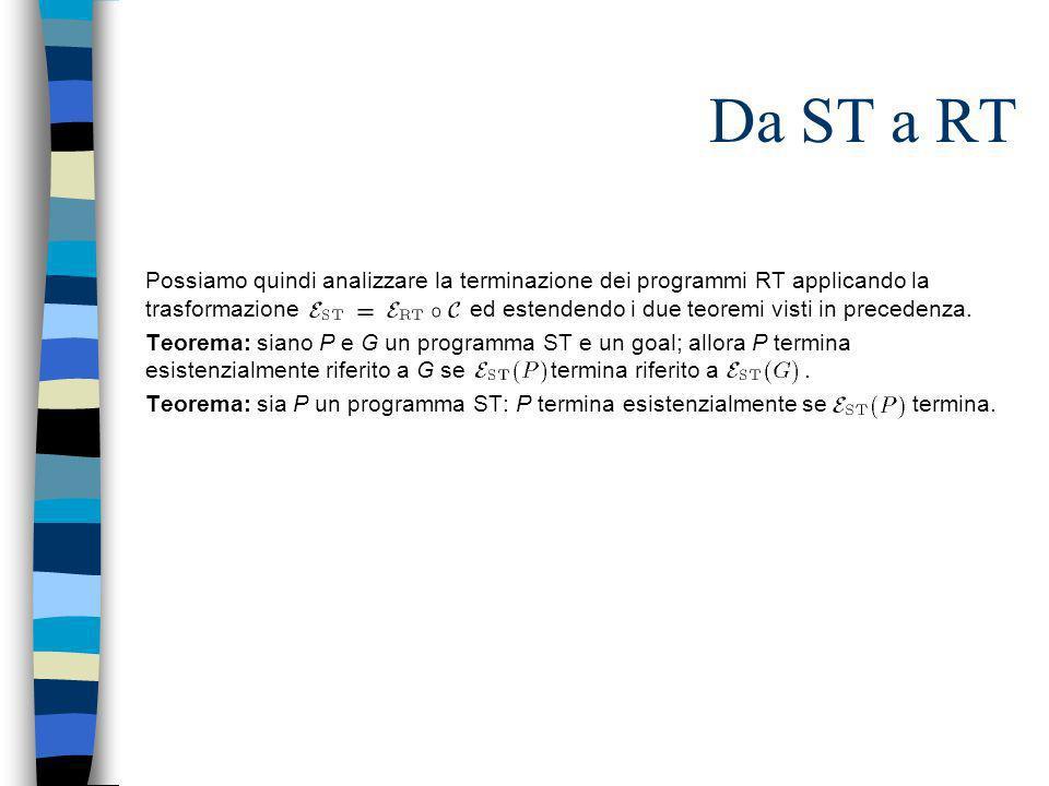 Da ST a RT Possiamo quindi analizzare la terminazione dei programmi RT applicando la trasformazione ed estendendo i due teoremi visti in precedenza. T