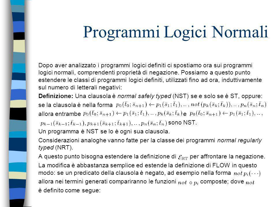 Programmi Logici Normali Dopo aver analizzato i programmi logici definiti ci spostiamo ora sui programmi logici normali, comprendenti proprietà di neg