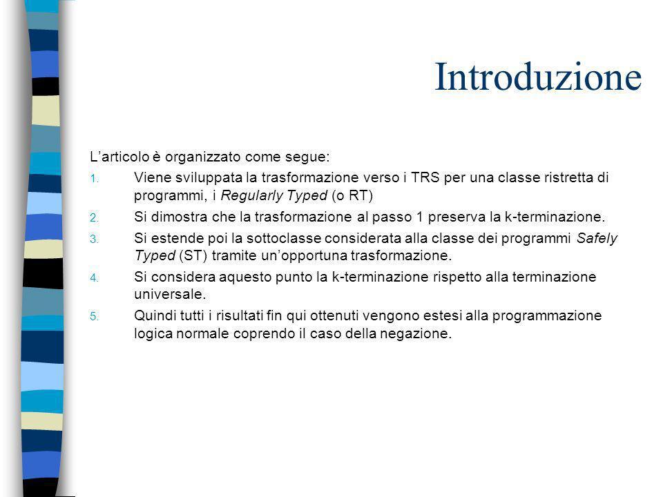 Introduzione Larticolo è organizzato come segue: 1. Viene sviluppata la trasformazione verso i TRS per una classe ristretta di programmi, i Regularly