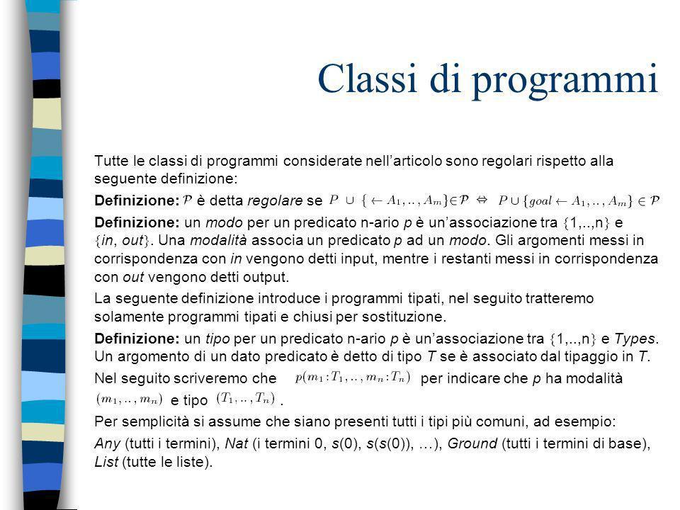 Classi di programmi Tutte le classi di programmi considerate nellarticolo sono regolari rispetto alla seguente definizione: Definizione: è detta regol