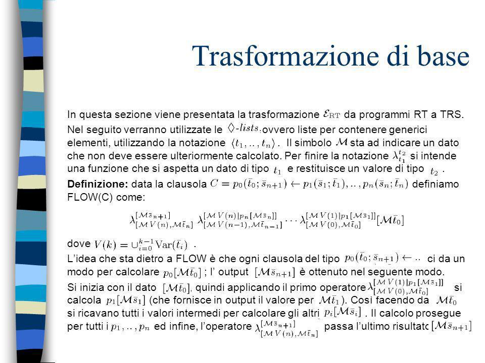 Trasformazione di base In questa sezione viene presentata la trasformazione da programmi RT a TRS. Nel seguito verranno utilizzate le, ovvero liste pe