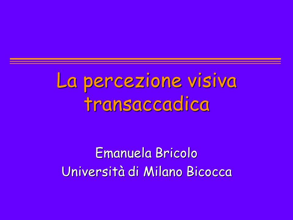 La percezione visiva transaccadica Emanuela Bricolo Università di Milano Bicocca